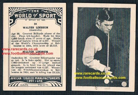 1930's Walter Wally Lindrum snooker billiards world champion Australian record holder & greatest